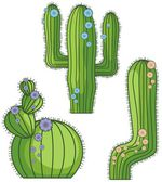 Vector flowering cactus designs in a single style — Stock Vector