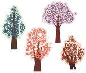Vektorové barevný strom návrhy v spiraltype stylu. — Stock vektor