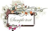Floral panel design with place for your text, vector illustration series. — Stock Vector