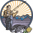 Fisherman Illustration — Stock Vector #33238785