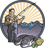 Fisherman Illustration — Stock Vector