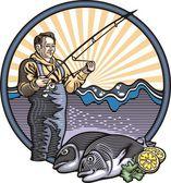 Fisherman Illustration — Stock Vector
