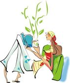 女孩和茶 — 图库照片
