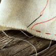 Needle and natural linen canvas texture — Stock Photo