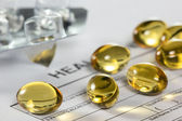 Cod liver oil capsules — Stock Photo