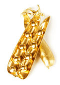 Gold pea pod — Stock Photo