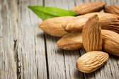 Almonds with leaf — Stock Photo