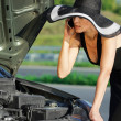 Womwith broken car — Stock Photo #39569581