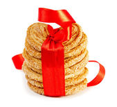 Cookies with red ribbon — Stock Photo