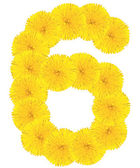 Number 6 made from dandelion flower — Foto Stock
