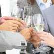 Close-up of business team toasting with champagne — Stock Video