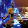 Digital human in Buddha position. Concept of stress and relax in business — Stock Video #22640787