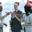Business celebrating Christmas in office while drinking champgane — Stock Video