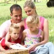 Family reading in a park sitting on the grass — Video