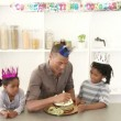 Afro-American dad and children celebrating a birthday — Stock Video