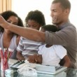 Afro-American family having a conference call — Video