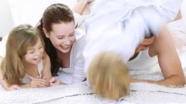 Family at home having fun — Stock Video