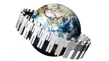 Animação do ícone em um círculo girando ao redor do planeta no centro. conceito de equipe mundial — Vídeo stock