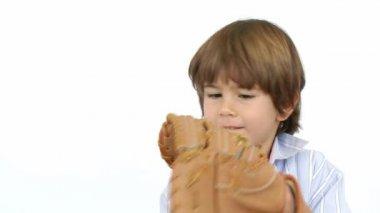 Happy little boy playing baseball — Stock Video