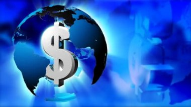Dollar symbol inside the planet. Capitalism world — Stock Video