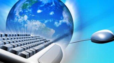 Tangentbord och en mus med jorden. begreppet globala nätverk — Stockvideo