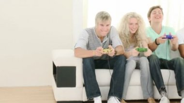 Teenagers Playing Video Games at home — Stock Video