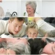 Stock Video: Attentive grandparents having fun with their family