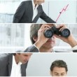 Businessman with binoculars — Vídeo Stock