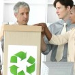Stock Video: Successful business team recycling