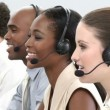 Stock Video: Business group showing ethnic diversity in call center
