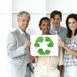 Self-assured business team showing the concept of recycling — Stock Video