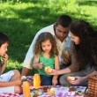Parents and children enjoying a picnic on a tablecloth — Vidéo