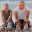 Stock Video: Elderly couple doing flexibility exercices