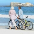 Stock Video: Aged couple walking with bikes