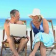 Stock Video: Elderly mshowing to his wife video on laptop