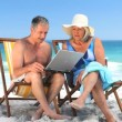 Elderly couple using a laptop sitting on beach chairs — Vídeo de stock