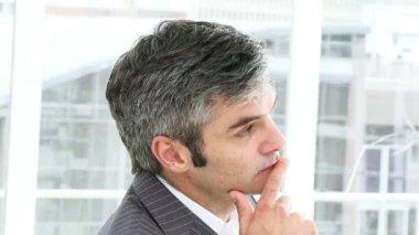 Portrait of a caucasian businessman — Stock Video