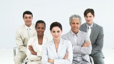 Portrait of confident business — Stock Video