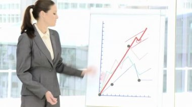 Competitive businesswoman reporting statistics — Stock Video