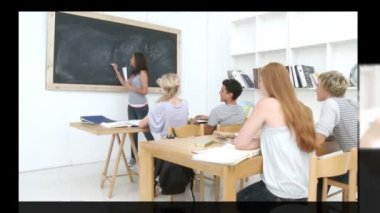 Group of teenager studying together in high school — Stock Video