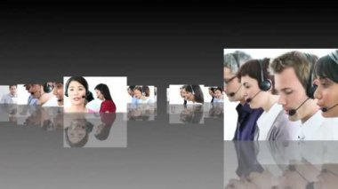 HD Foootage Fly Thorugh of a call centre — Stock Video
