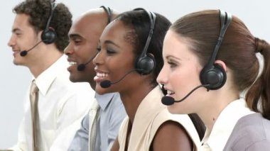 Business group showing ethnic diversity in a call center — Stock Video