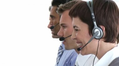 Business working hard in a call center — Stock Video