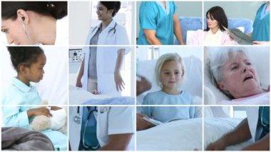 Doctor attending to an elderly patient — Stock Video