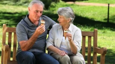 Senior couple enjoying icecream on a bench — Vídeo de Stock