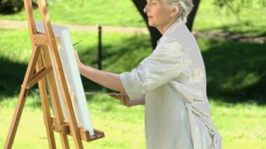 Elderly female painting a canvas — Stock Video