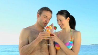 Lovely couple talking with cocktails — Stock Video