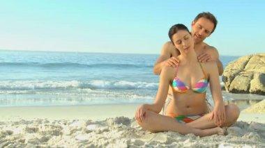 Handsome man massaging his girlfriend — Stock Video