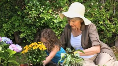 Old woman and her granddaughter gardening together — Stock Video