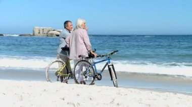 Elderly couple looking at the horizon after a ride bike — Stock Video